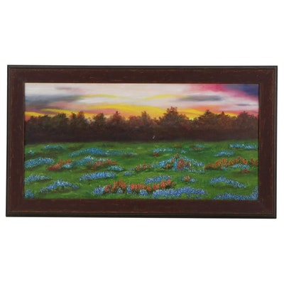 Sunset Landscape Oil Painting, Late 20th Century