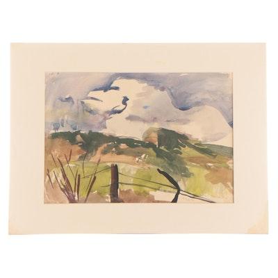 Carlos Cervantes Landscape Watercolor Painting, 1940