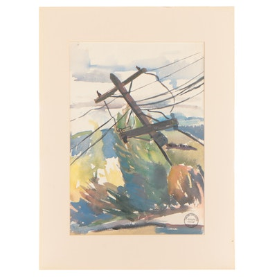 Carlos Cervantes Watercolor Painting of Utility Pole, Late 20th Century