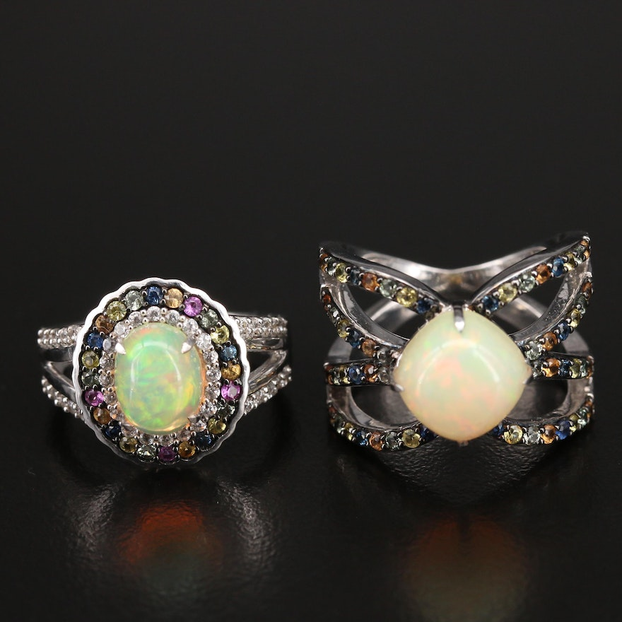 Sterling Opal, Sapphire and Zircon Rings