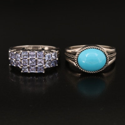 Sterling Silver Rings with Tanzanite and Faux Turquoise