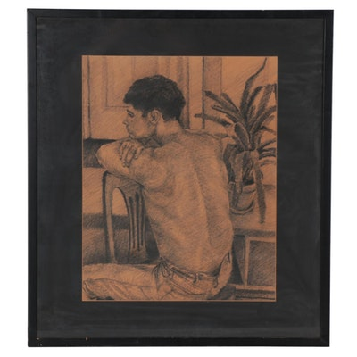 Pastel Drawing of Seated Figure, Late 20th Century