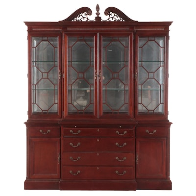 """Stanley Furniture """"Stoneleigh"""" Federal Style Mahogany Breakfront China Cabinet"""