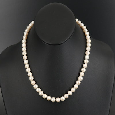 Pearl Strand Necklace with Sterling Diamond Clasp