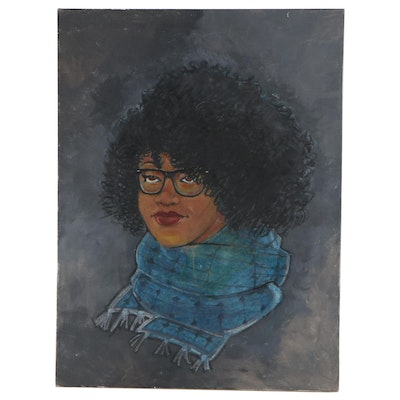 Mixed Media Portrait of Young Woman, 21st Century