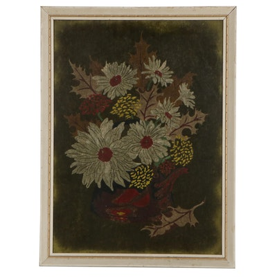 Still Life Oil Pastel Painting on Velvet, Late 20th Century