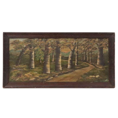 Landscape Oil Painting of Forest Path, Mid-20th Century
