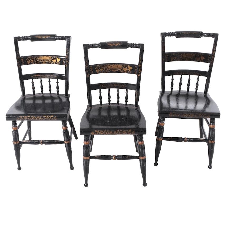 Hitchcock Style Ebonized Stenciled Fancy Chairs by Nichols & Stone