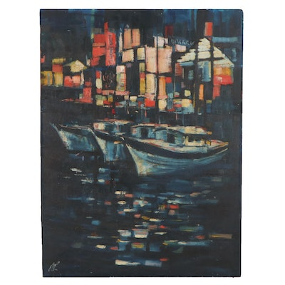 Modernist Style Oil Painting of Harbour, Late 20th Century