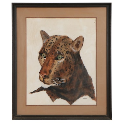 Watercolor Painting of Leopard, Late 20th Century