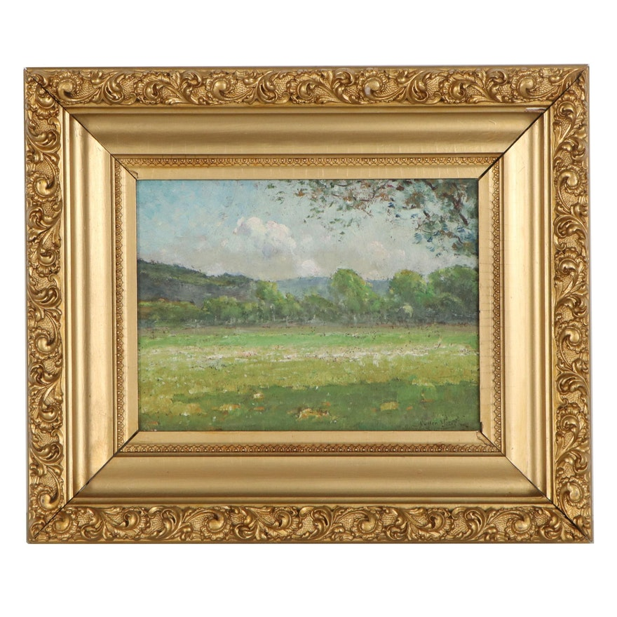 Cullen Yates Landscape Oil Painting of Pasture, Early 20th Century