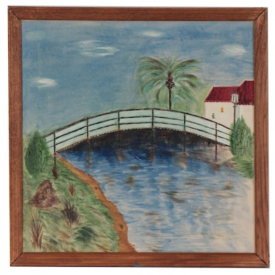 Landscape Oil Painting of a Bridge Over a Stream, Late 20th Century