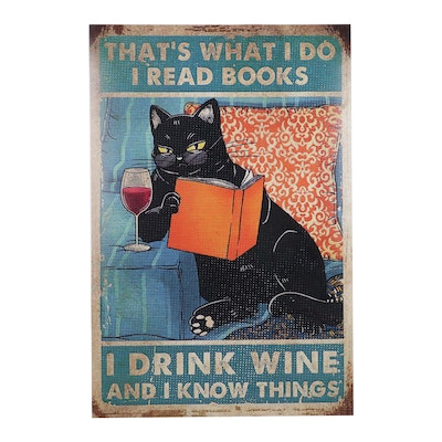 Pop Art Giclée of Black Cat With Wine and Book, 21st Century
