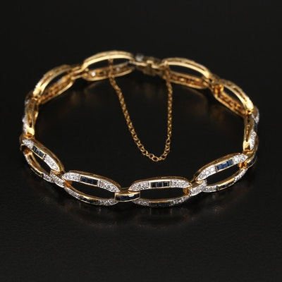 Art Deco Style 18K 1.21 CTW Diamond and Sapphire Link Bracelet