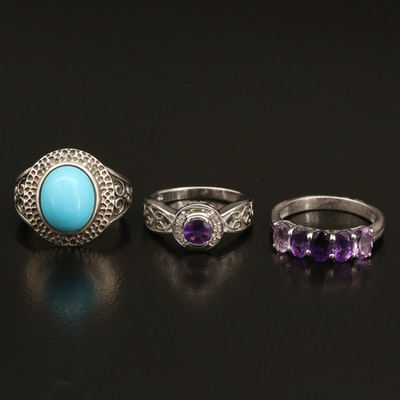 Sterling Faux Turquoise, Amethyst and Diamond Rings