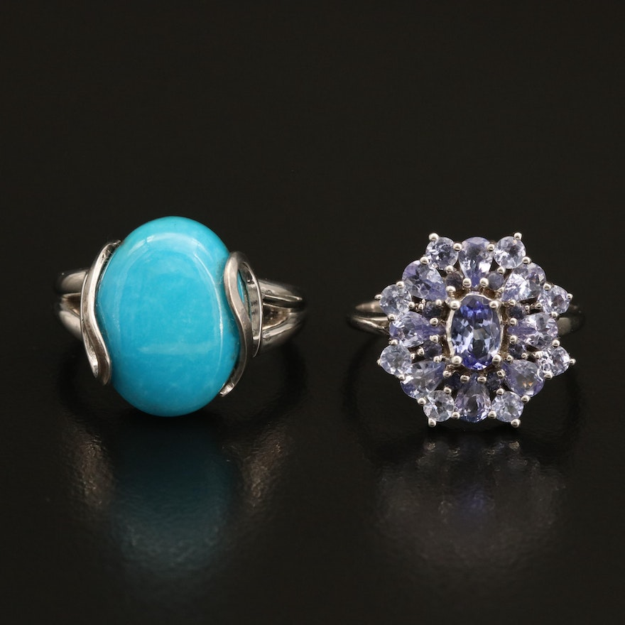 Sterling Turquoise and Tanzanite Rings