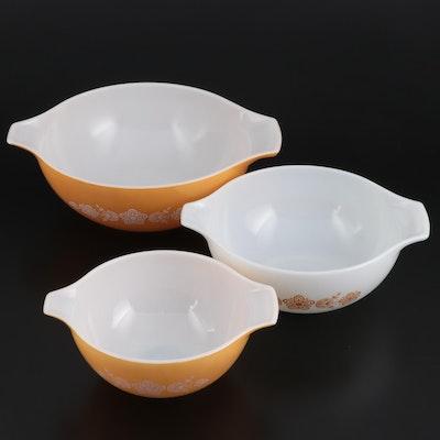 "Pyrex ""Butterfly Gold"" Glass Nesting Bowls, 1972–1978"