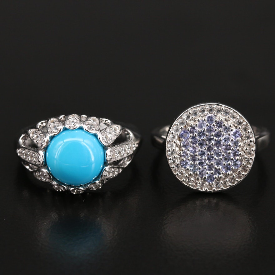 Sterling Turquoise and Pavé Tanzanite and Gemstone Rings