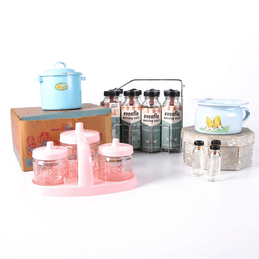 Glasco Baby Jar and Tray Set, Evenflo Bottles, and Enamelware, Mid-20th Century