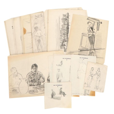 Edmond James Fitzgerald Figural and Landscape Drawings