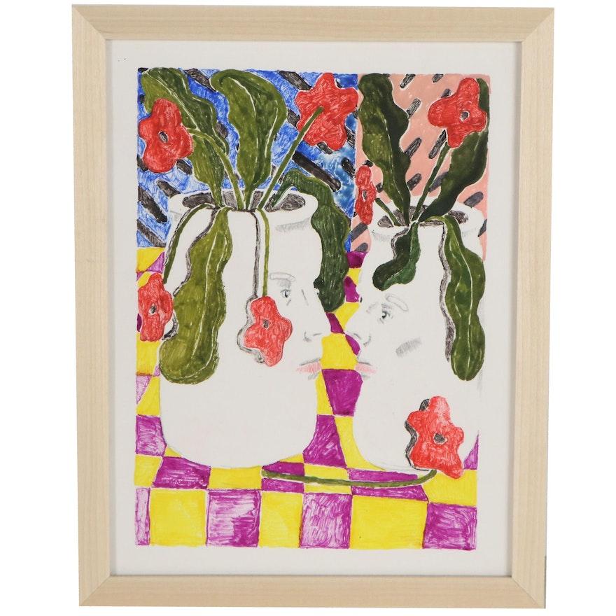 Michael Stillion Floral Still Life Monoprint