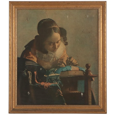 """Offset Lithograph After Johannes Vermeer """"The Lacemaker,"""" Late 20th Century"""