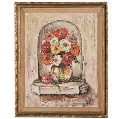 Floral Still Life Oil Painting, 1968