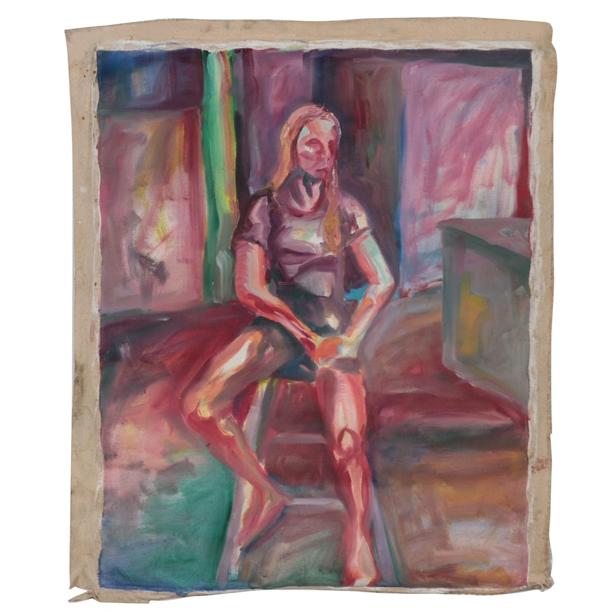 Double-Sided Figural Oil Painting, Late 20th Century