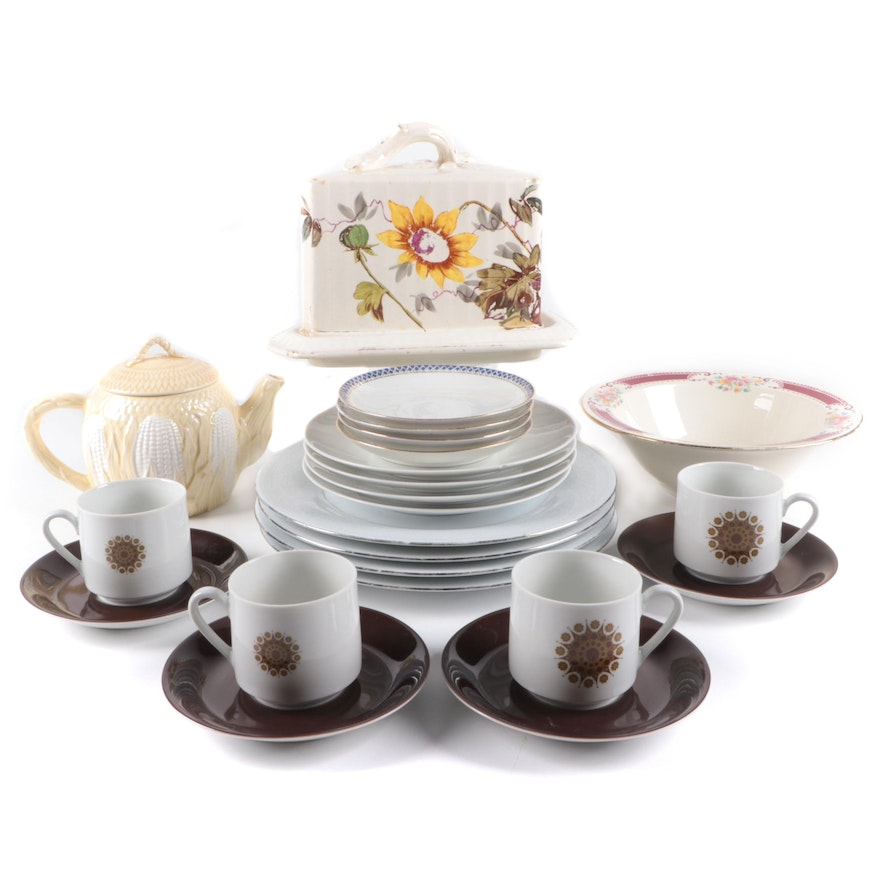 Mitterteich Cups, Saucers and Plates, Royal Bonn Cheese Dome and Other Tableware