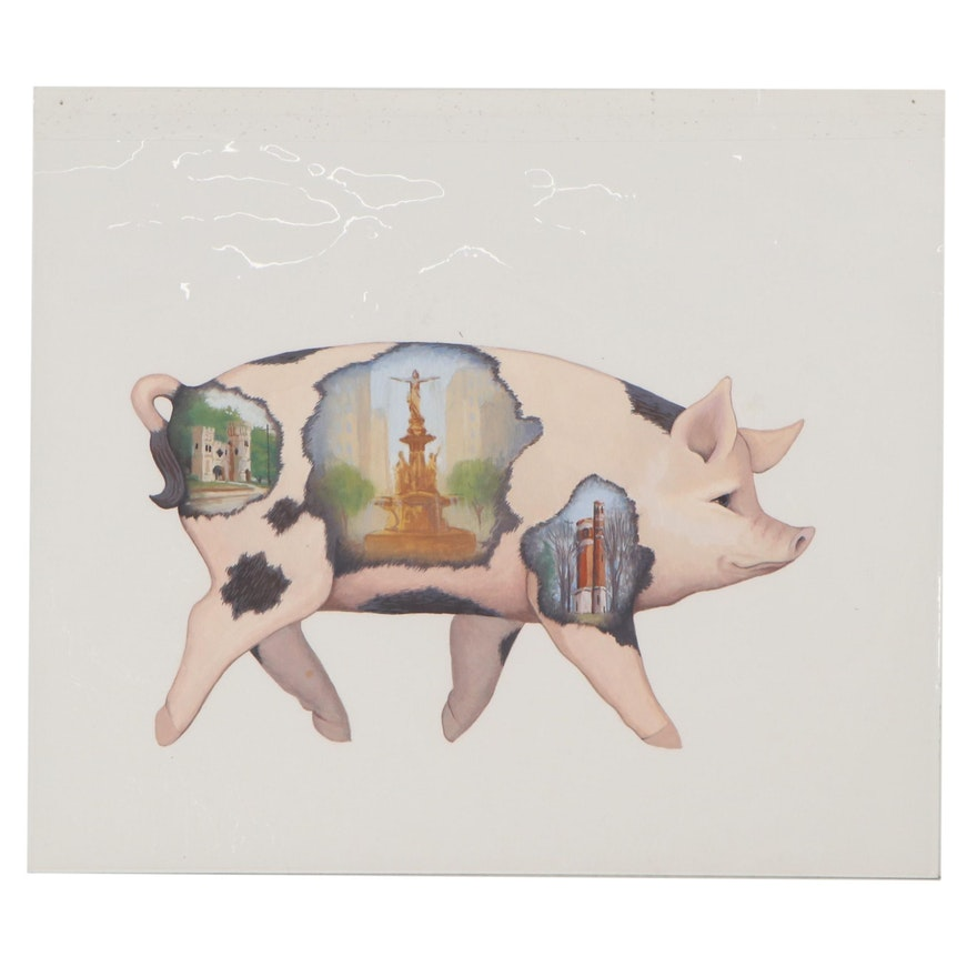 """Chuck Marshall Gouache Painting """"Preservation Pig"""""""