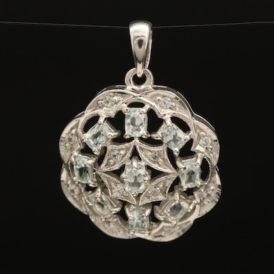Sterling Silver Amblygonite and White Zircon Openwork Pendant
