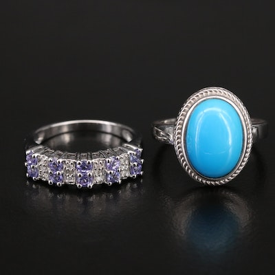 Sterling Silver Tanzanite, Diamond and Faux Turquoise Rings