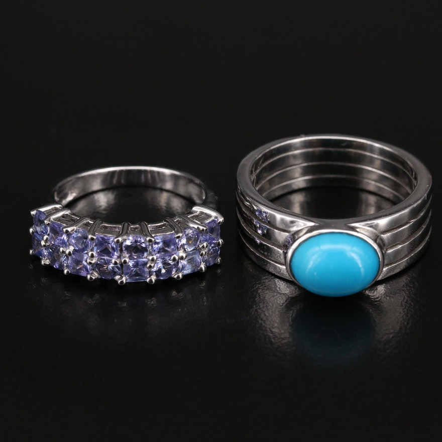 Sterling Silver Tanzanite and Turquoise Rings