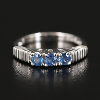 Sterling Silver Sapphire Three Stone Ring