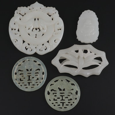 Chinese Carved Calcite, Chalcedony and Serpentine Medallions