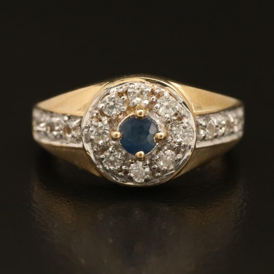 Sterling Silver Sapphire and Topaz Halo Ring