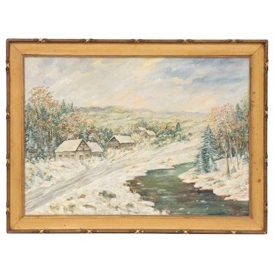 Winter Landscape Oil Painting, 1941