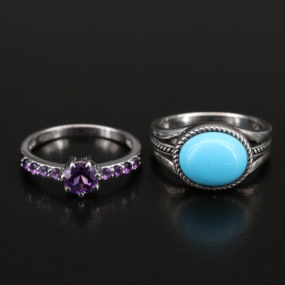 Sterling Amethyst and Turquoise Rings