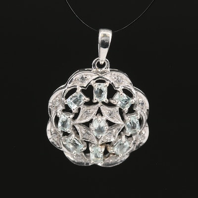 Sterling Silver Amblygonite and Zircon Pendant