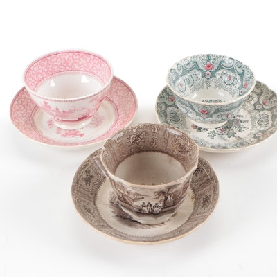 """Podmore Walker & Co. """"Spartan"""" Ironstone Transferware Teacup and Saucer and More"""