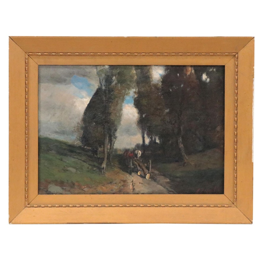 Charles P. Appel Oil Painting of Forest Cart Path, Early 20th Century