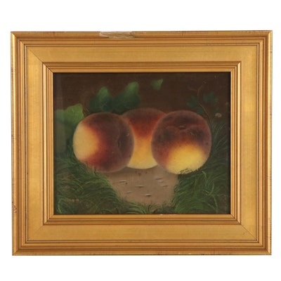 Still Life Pastel Drawing of Peaches, Late 20th Century
