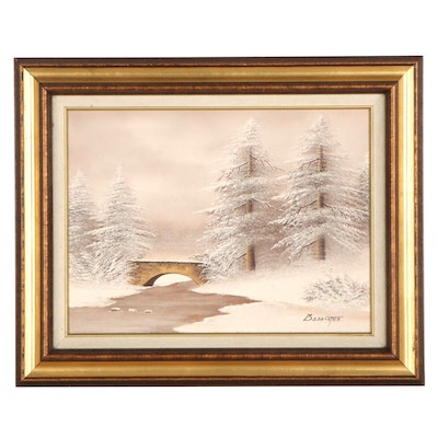 Barrister Winter Landscape Oil Painting, Late 20th Century