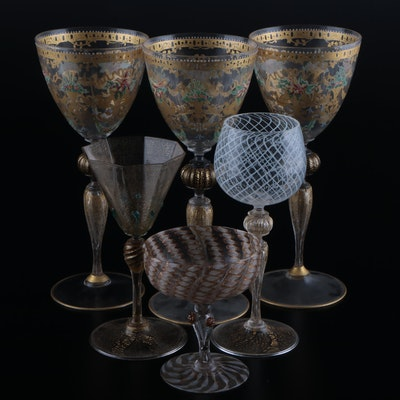 Murano Hand-Painted Gilt Decorated Glass Goblets with Murano Glass Stemware