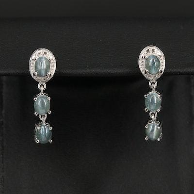 Sterling Silver Cat's Eye Alexandrite Drop Earrings