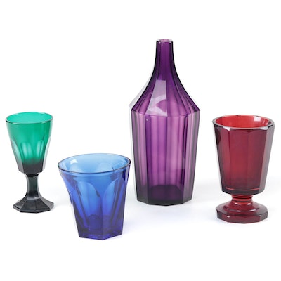 Art Deco Moser Style Ruby Footed Vase and Other Colored Faceted Glass Tableware