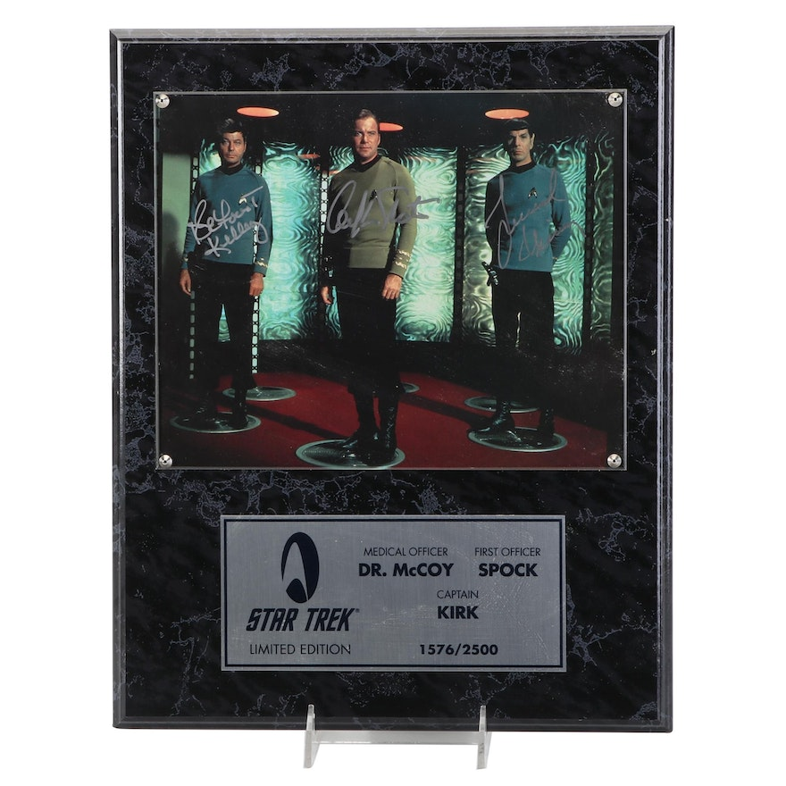 """Shatner, Nimoy and Kelly Signed Limited Edition""""Star Trek"""" Photo Display, COA"""