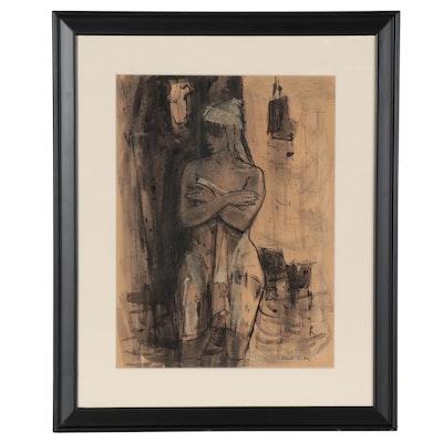 Phil Dike Mixed Media Painting of Bathing Figure