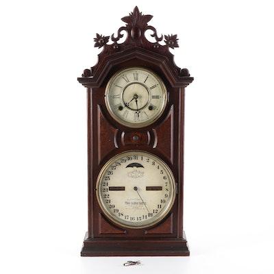 Ithaca Calendar Clock Company Walnut Mantel Clock, Late 19th Century