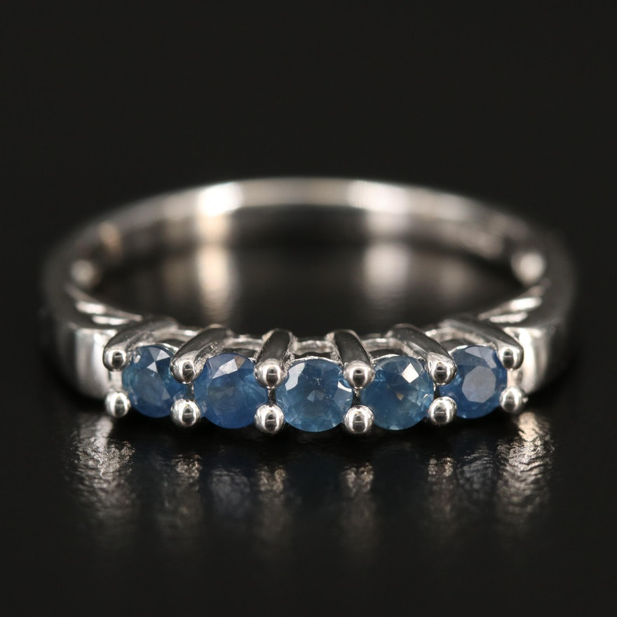 Sterling Silver Sapphire Five Stone Ring